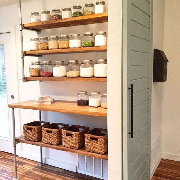 pipe shelving used to create a pantry