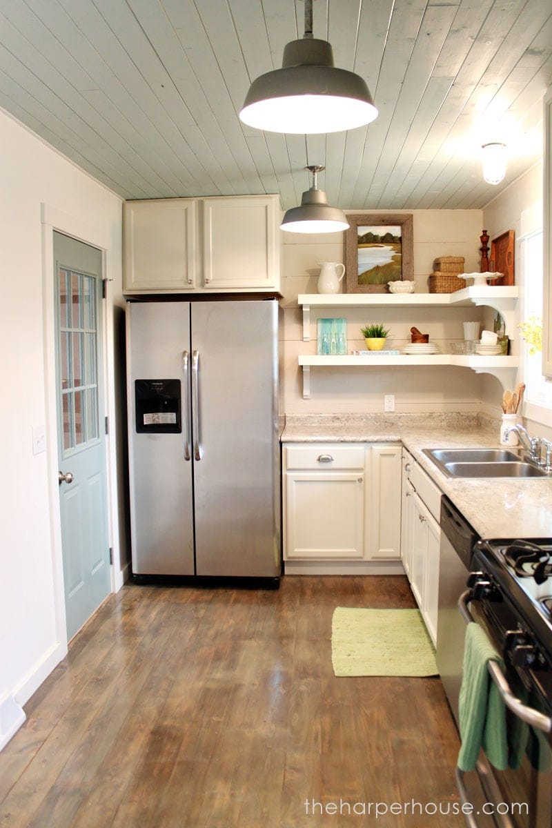 DIY farmhouse kitchen with open shelving | The Harper House