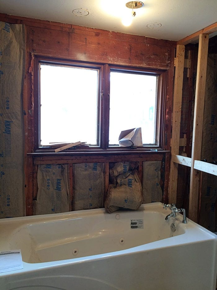 master bath progress pics from the flip house | The Harper House