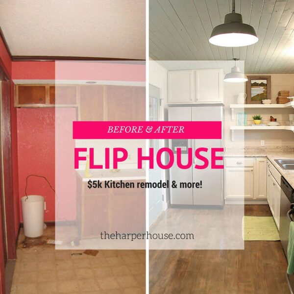 Check out this awesome farmhouse kitchen makeover! Before & afters of the whole house |The Harper House