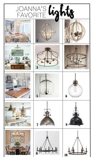 Find out where to buy Joanna's favorite light fixtures