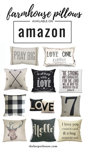 Cheap farmhouse pillows on Amazon!