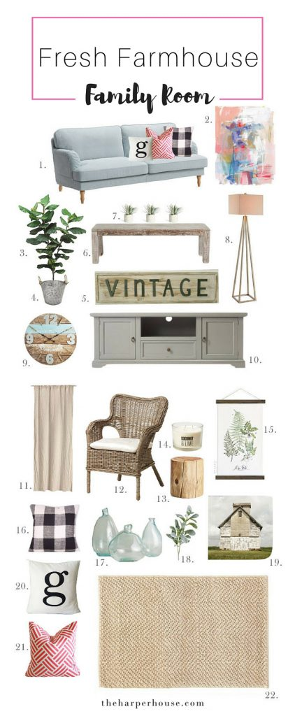Add some #fixerupper style with a pop of color with this fresh #farmhouse family room moodboard! Sources & links listed on the blog | theharperhouse.com