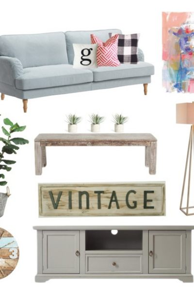 Add some #fixerupper style and a pop of color with this fresh #farmhouse family room moodboard! Sources & links listed on the blog | theharperhouse.com
