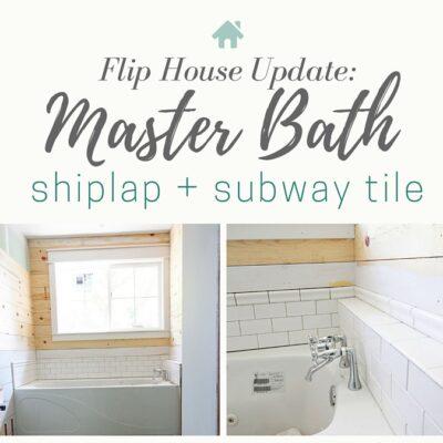 shiplap + subway tile = farmhouse master bath awesomeness! Master Bath progress at the Flip House | theharperhouse.com
