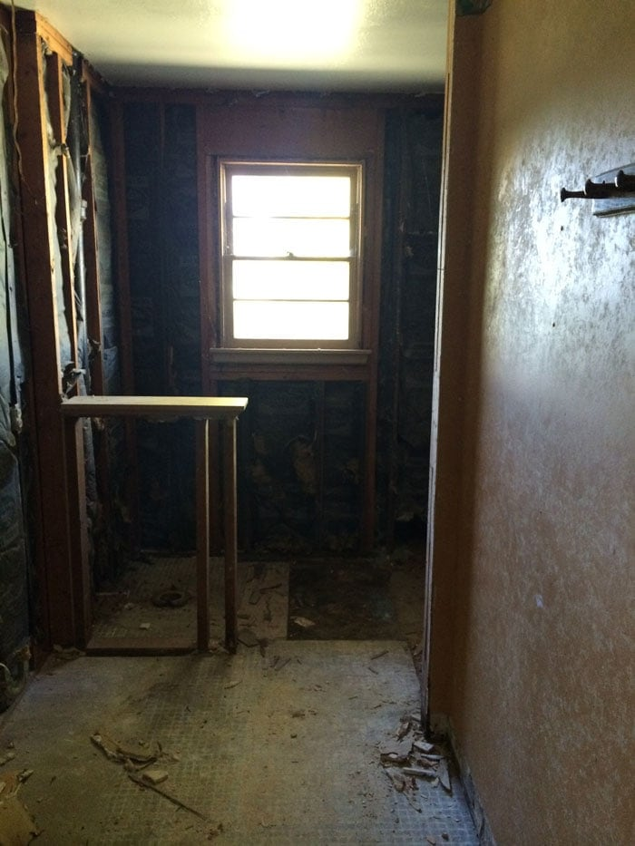 Here's the lovely before pic of the hall bath in the Flip House | theharperhouse.com