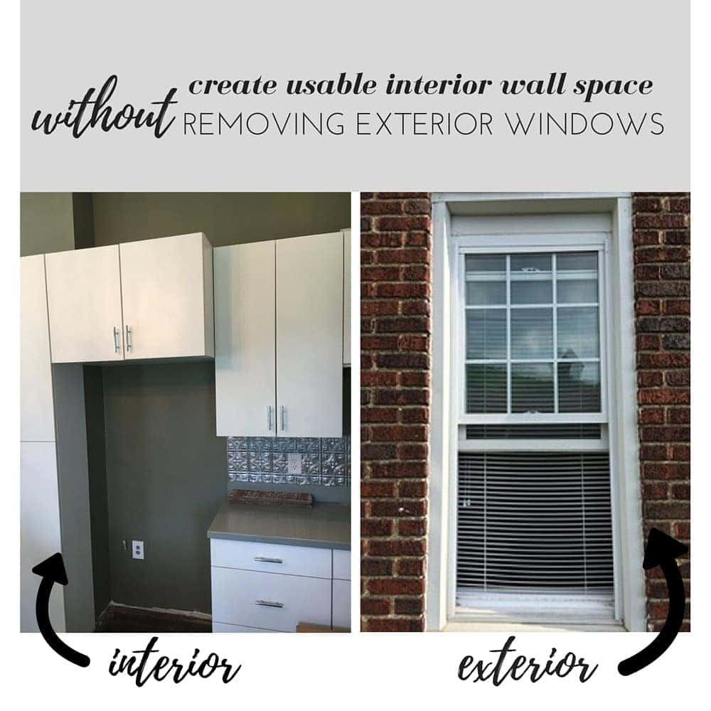 create usable interior wall space without removing exterior windows!
