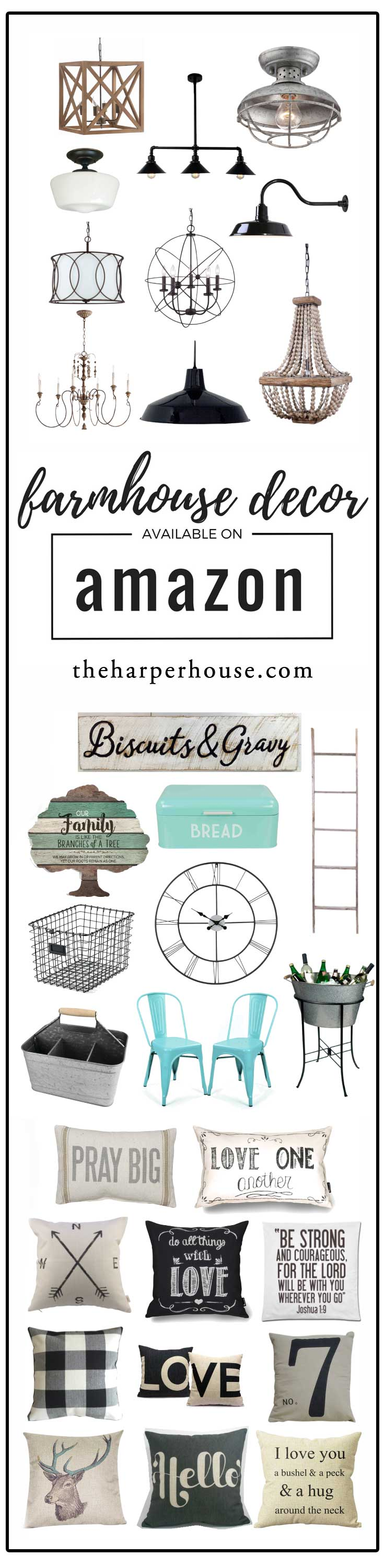 Amazon is such a great place to shop for farmhouse decor and inspiration! All the sources and links are on the blog | www.theharperhouse.com