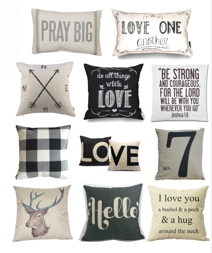 Most of these pillows are under $10 bucks - all from Amazon! Such a great way to add farmhouse decor to your home for super cheap!
