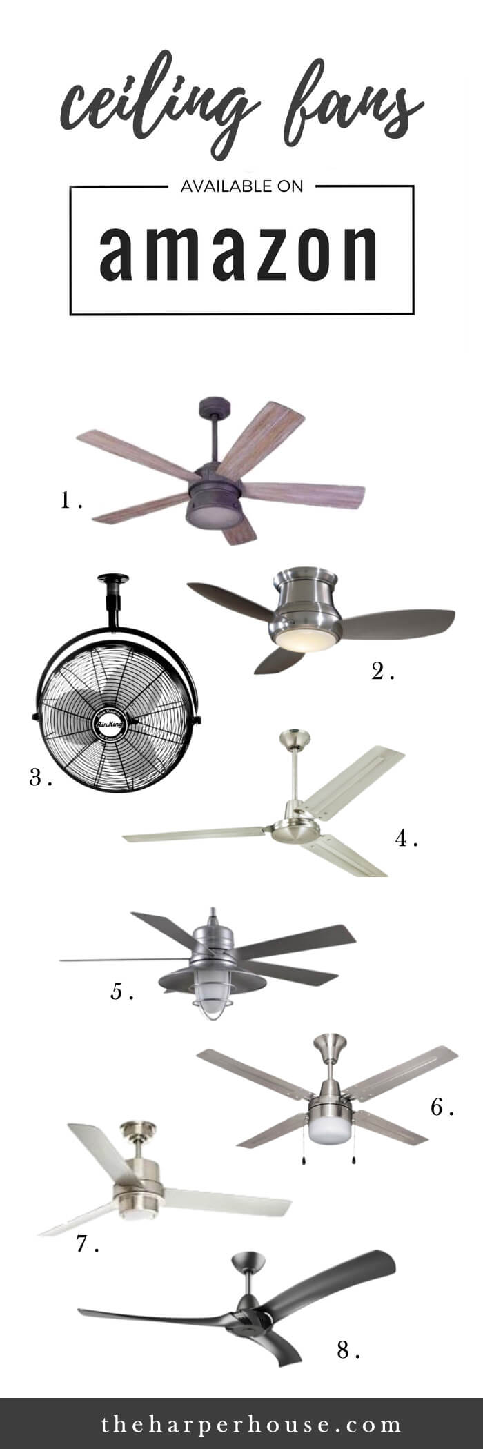 Give your room an instant face lift with these great looking farmhouse ceiling fans available on Amazon! www.theharperhouse.com