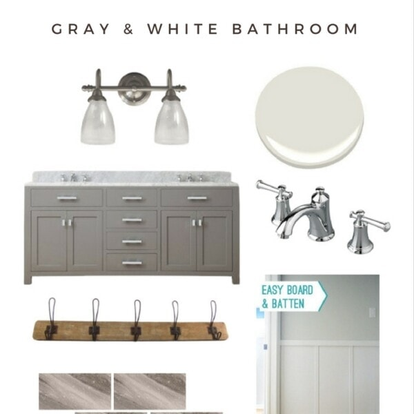 Gorgeous bathrooms don't have to cost a fortune! Sharing all the sources for our DIY gray and white bathroom remodel on the blog | www.theharperhouse.com