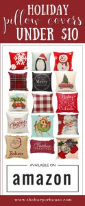 Cheap holiday & Christmas pillows under $10 bucks. Start your Christmas decorating early this year with these super cute affordable Christmas pillows from Amazon! www.theharperhouse.com