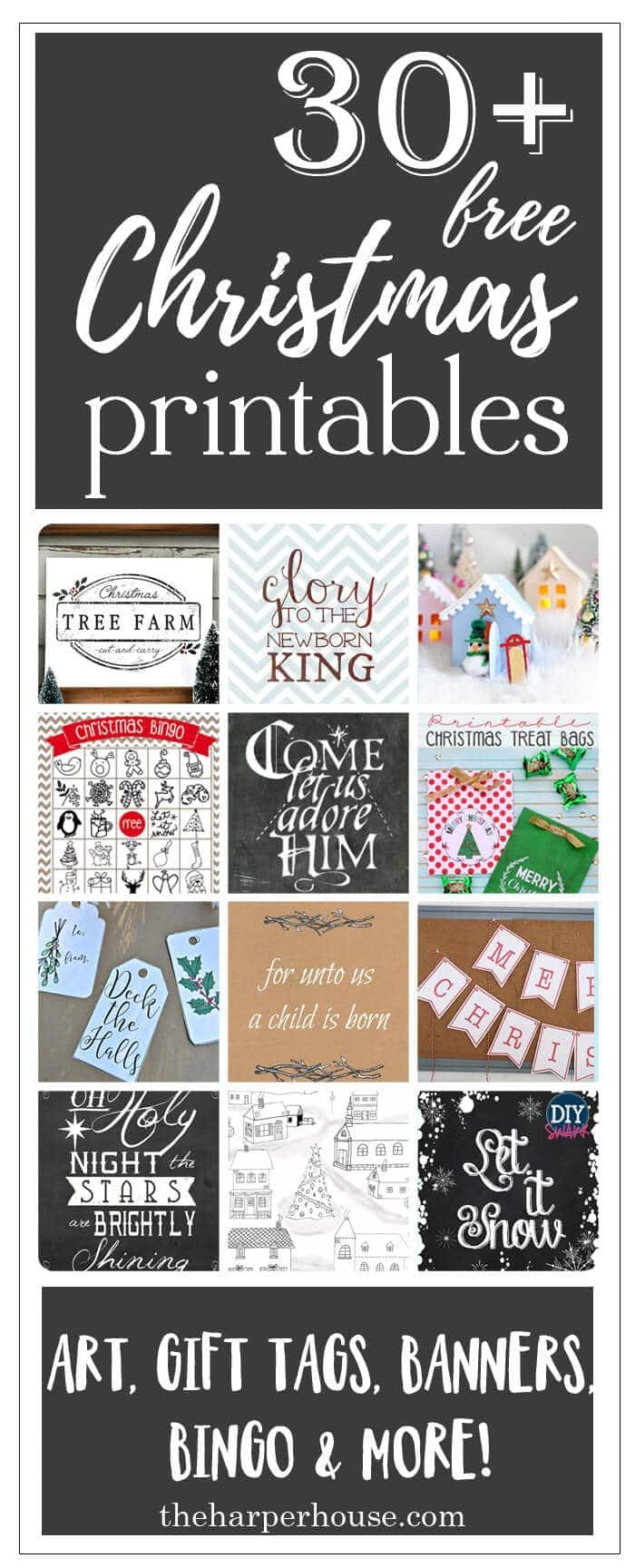Epic collection of over 30 free Christmas printables to get you ready for the holidays! Gift tags, art prints, treat bags, and lots more. All free and super cute :)