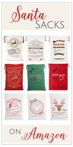 Santa sacks - cute and cheap wrapping for all those odd shaped presents! Available on Amazon