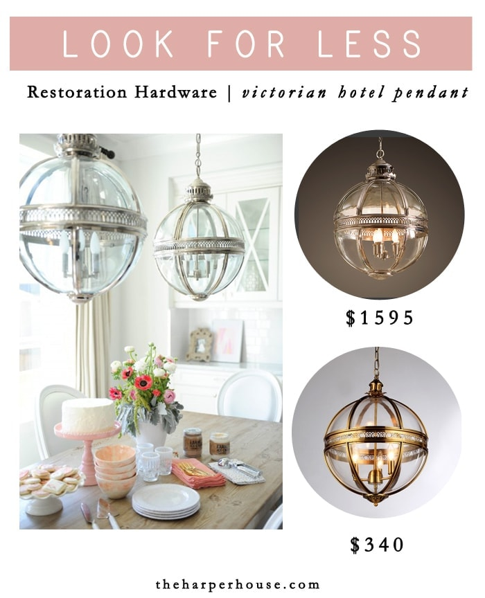 Knock off: Restoration Hardware Victorian Hotel Pendants - find the look for MUCH less on the blog www.theharperhouse.com