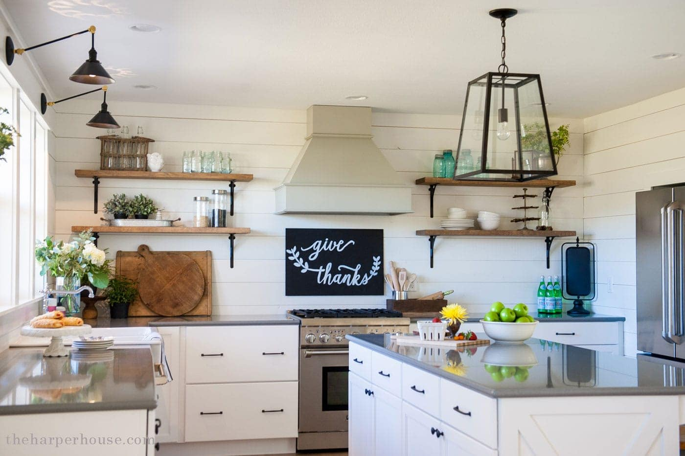 Our farmhouse kitchen reveal the harper house for Farmhouse style kitchen lighting
