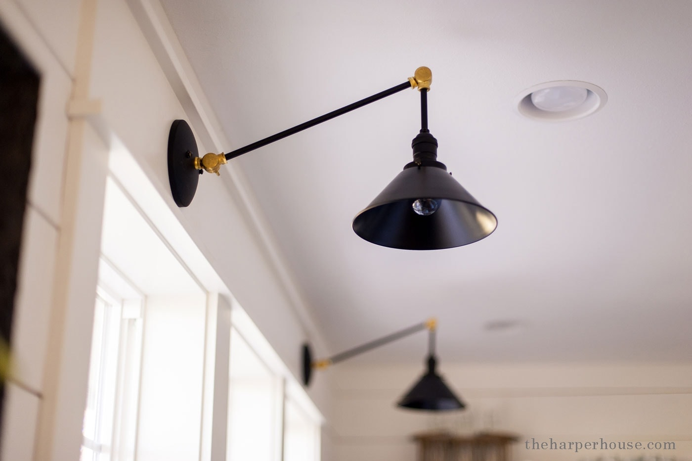 custom sconces from etsy in the modern farmhouse kitchen. Get sources & links on the blog | www.theharperhouse.com