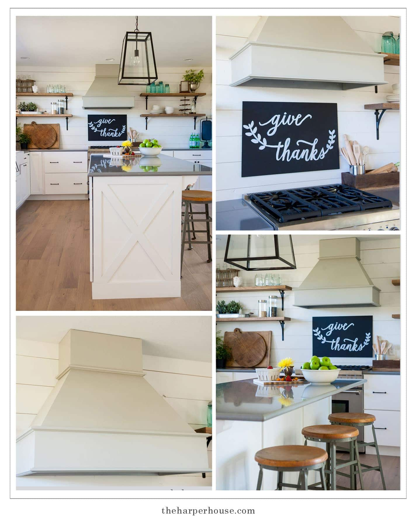 sharing our fixer upper inspired farmhouse kitchen reveal featuring white shaker cabinets, white oak floors, farmhouse sink, open shelves, and industrial lighting, & gray quartz countertops| | theharperhouse.com