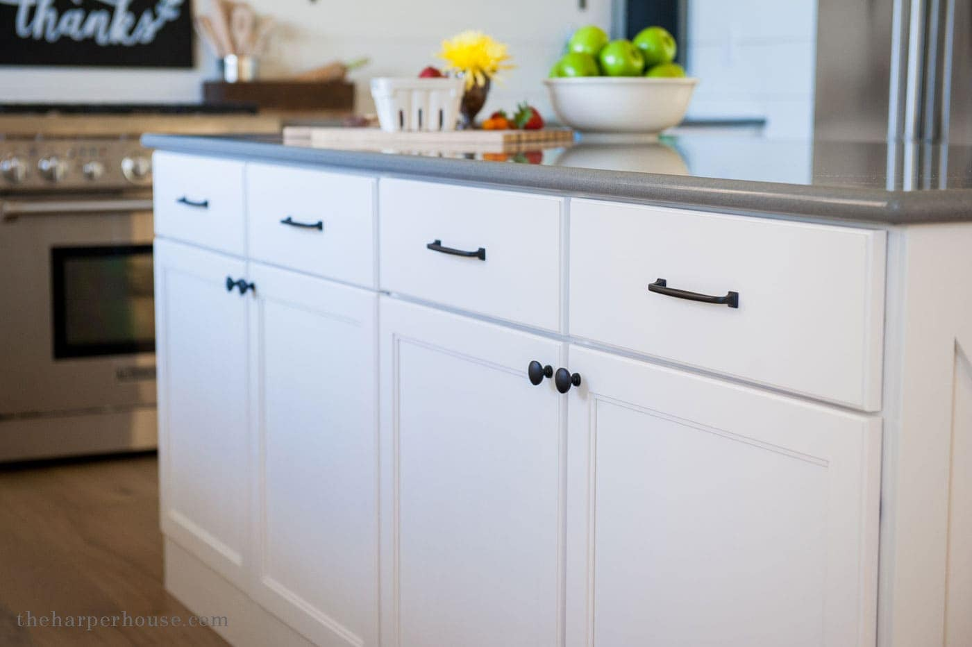 Farmhouse style kitchen details the harper house for Cabinets handles and knobs