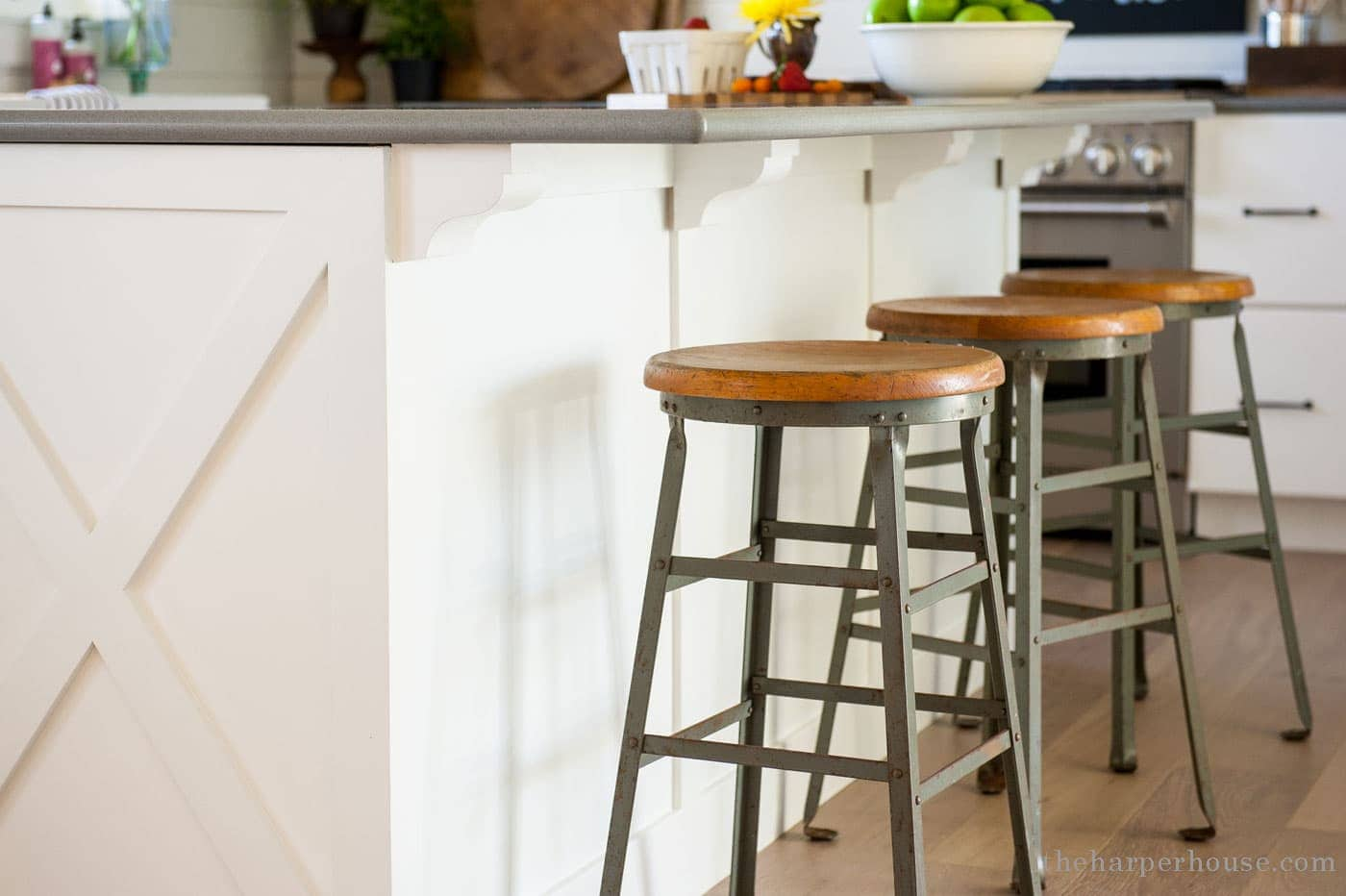 diy kitchen island upgrade with $5 wooden corbels | farmhouse kitchen reveal www.theharperhouse.com
