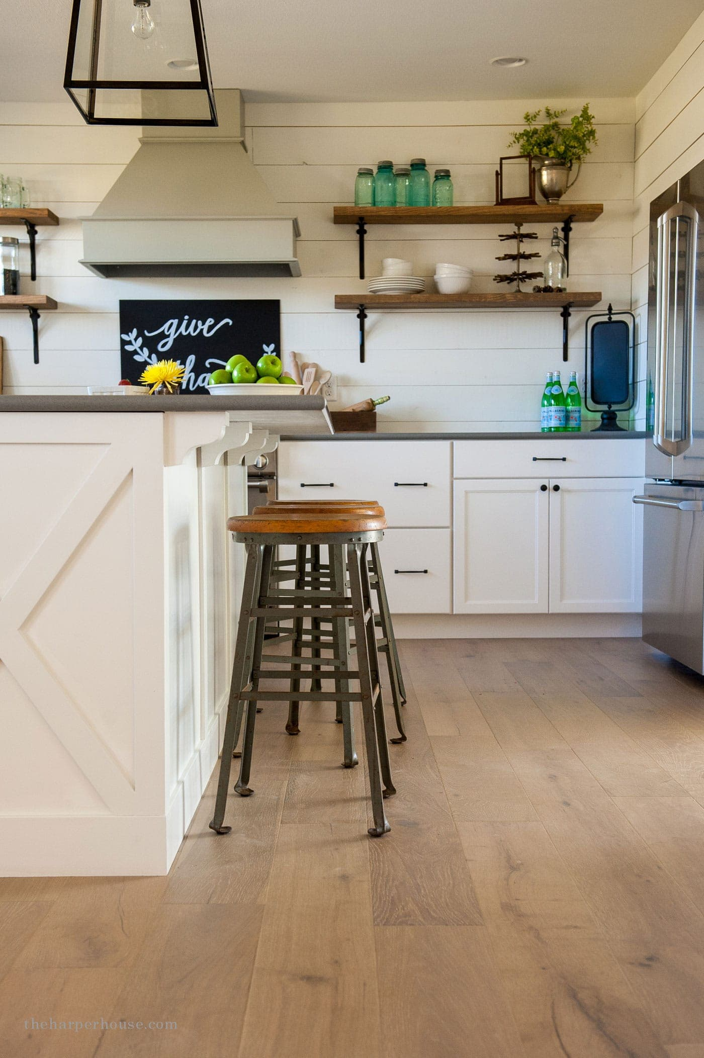 diy island upgrade with $5 wooden corbels | farmhouse kitchen reveal www.theharperhouse.com