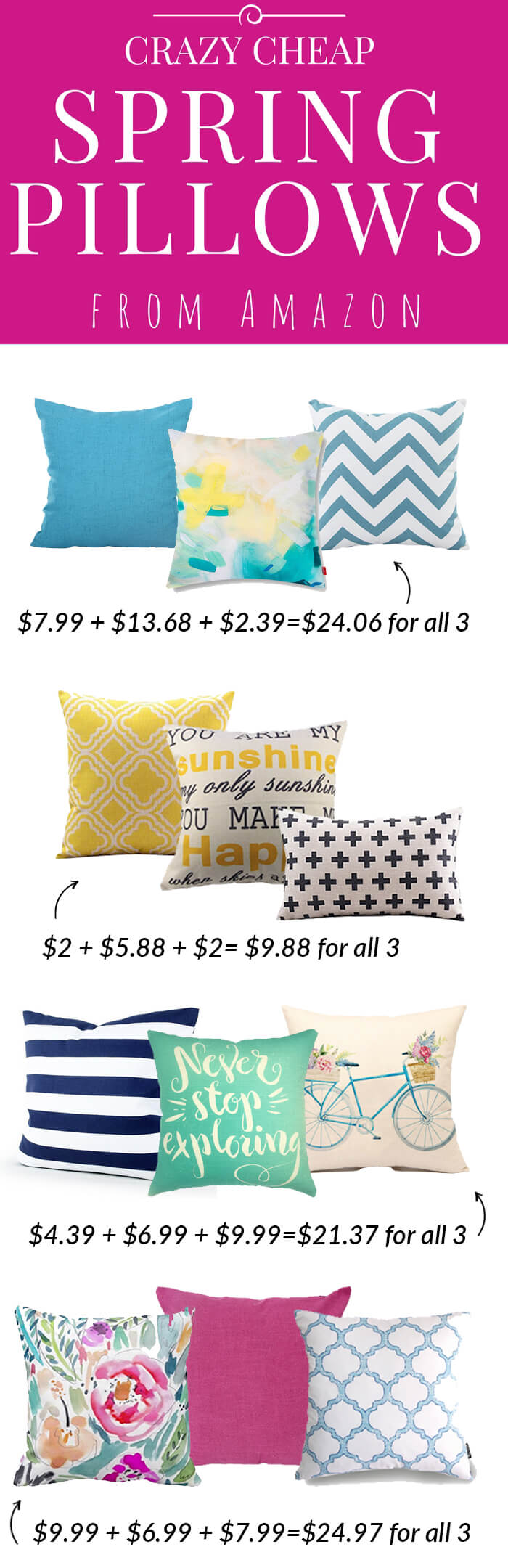 cute spring pillow covers from Amazon almost all under $10!