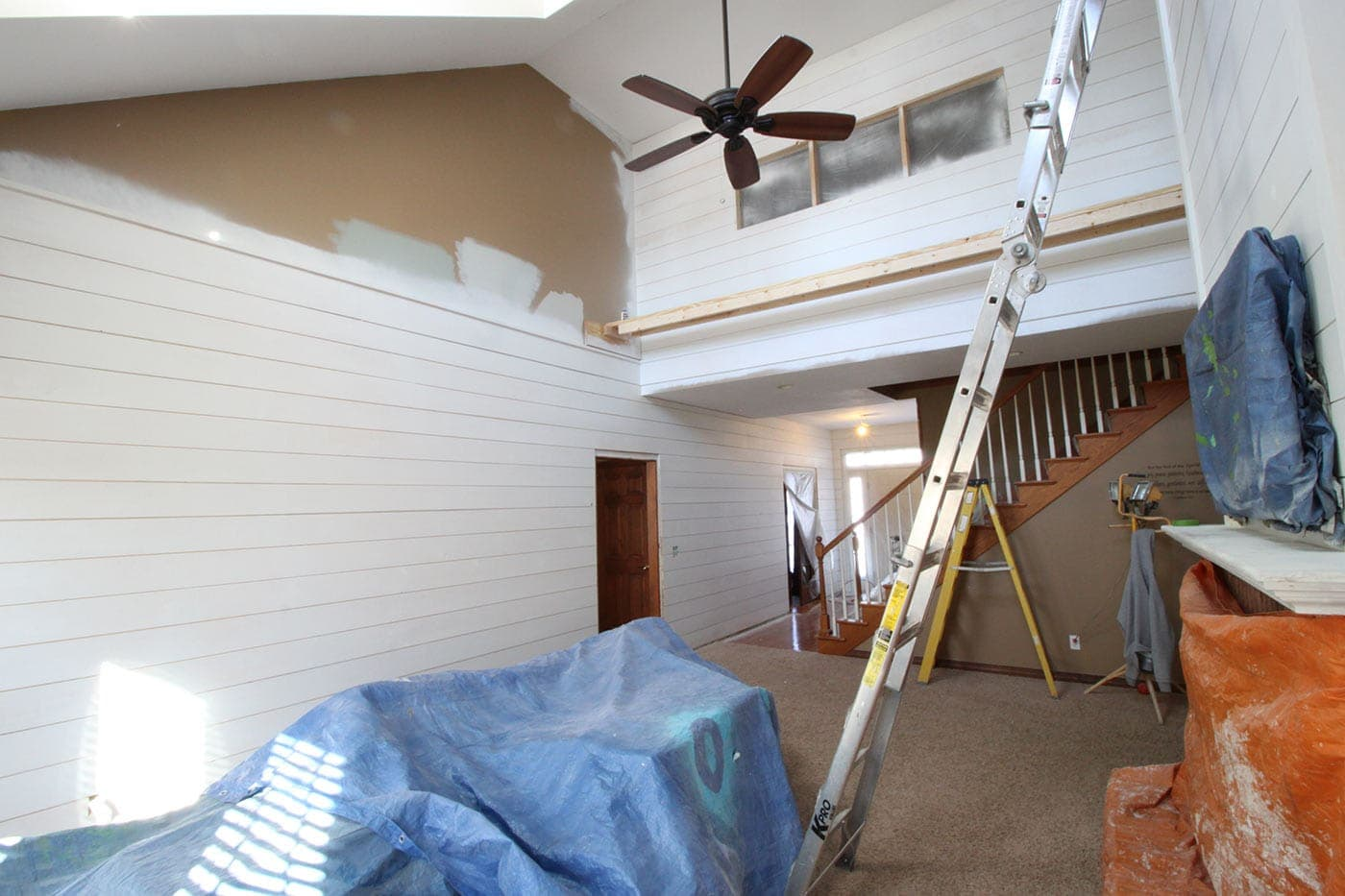 favorite white paint colors for shiplap - BM white dove | www.theharperhouse.com