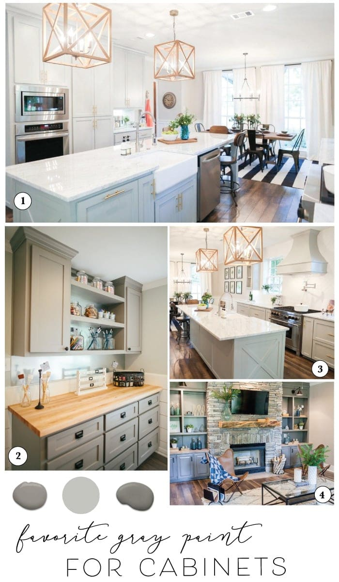 Sharing the best paint for cabinets and Joanna's favorite gray kitchen cabinet paint colors for farmhouse style kitchens | www.theharperhouse.com