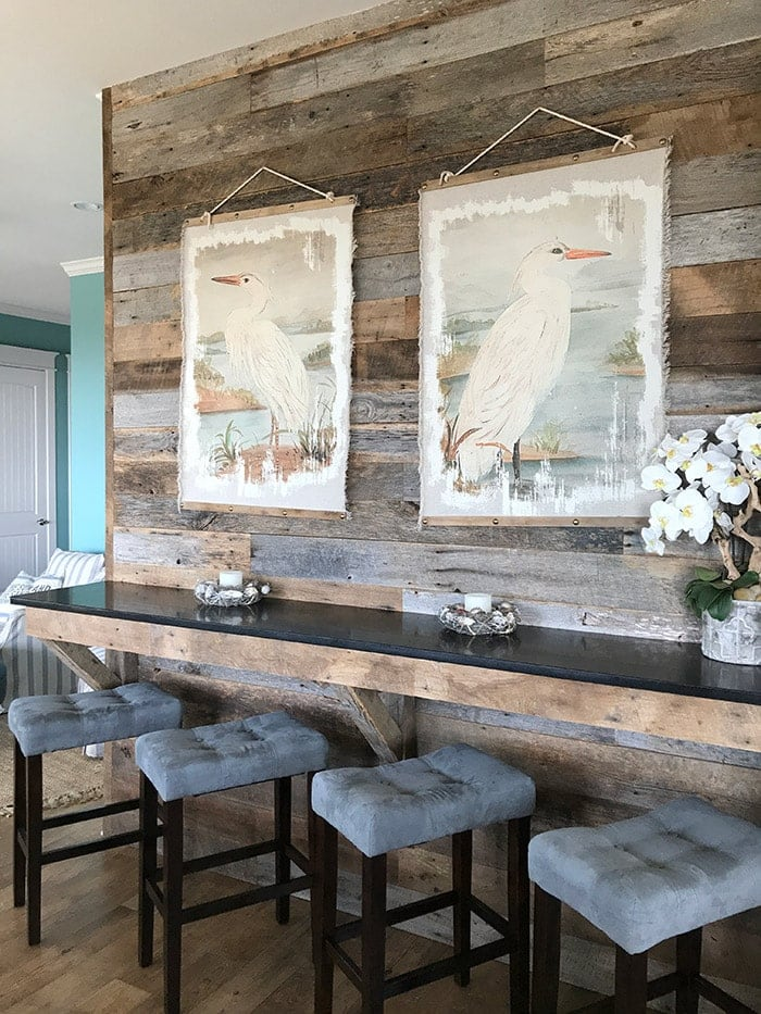 reclaimed barn wood shiplap wall in our Galveston TX beach house