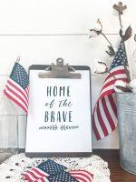 Patriotic Free Printable – Home of the Brave