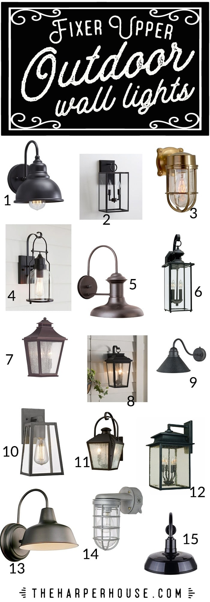 outdoor wall lights fixer upper style the harper house. Black Bedroom Furniture Sets. Home Design Ideas