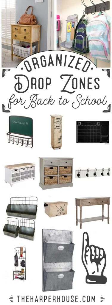 Organize your home with farmhouse style featuring simple ideas for cute and uncluttered drop zones for busy families. Sharing all the shopping sources on the blog!