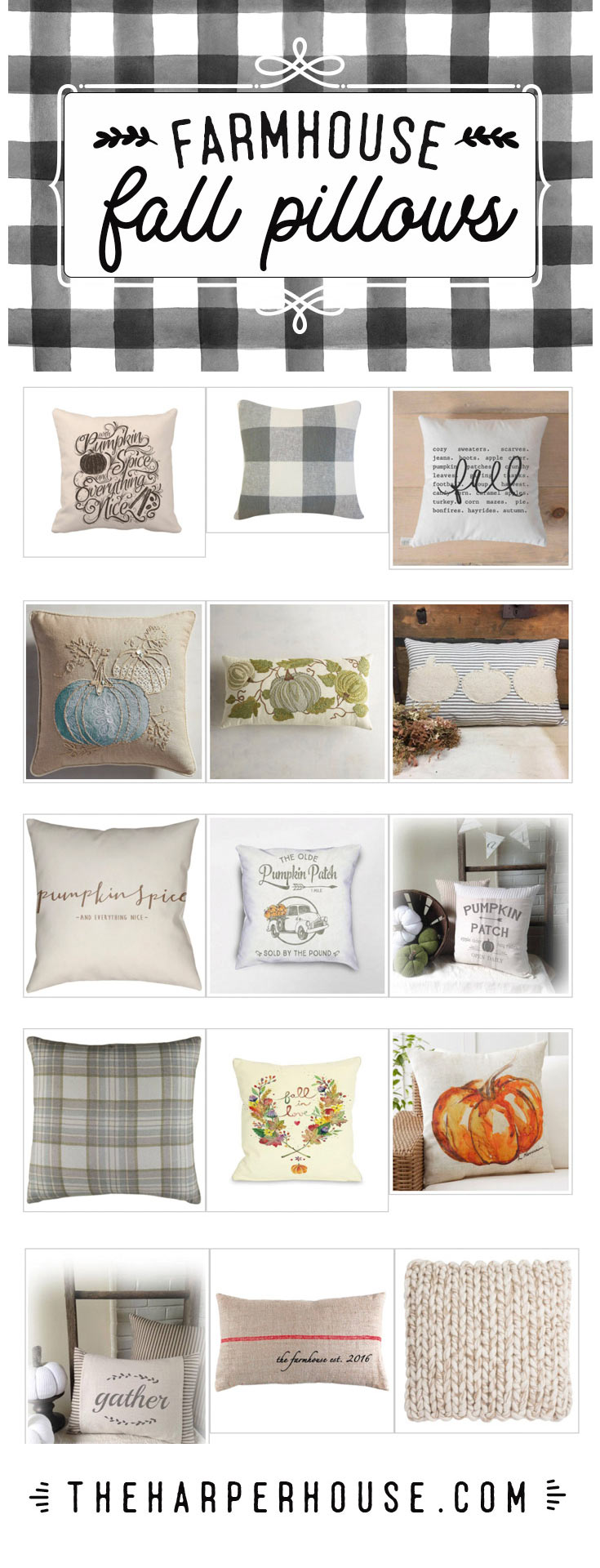 Cute fall pillows perfect to decorate your modern farmhouse for fall!