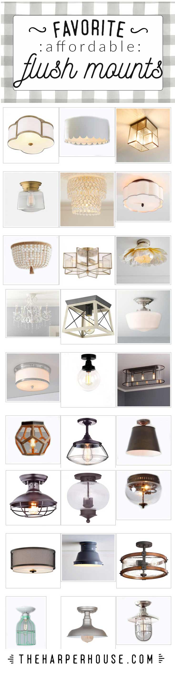 Affordable flush mount lighting options to add fresh & fun Fixer Upper style to your home. #fixerupper #farmhouse #lighting