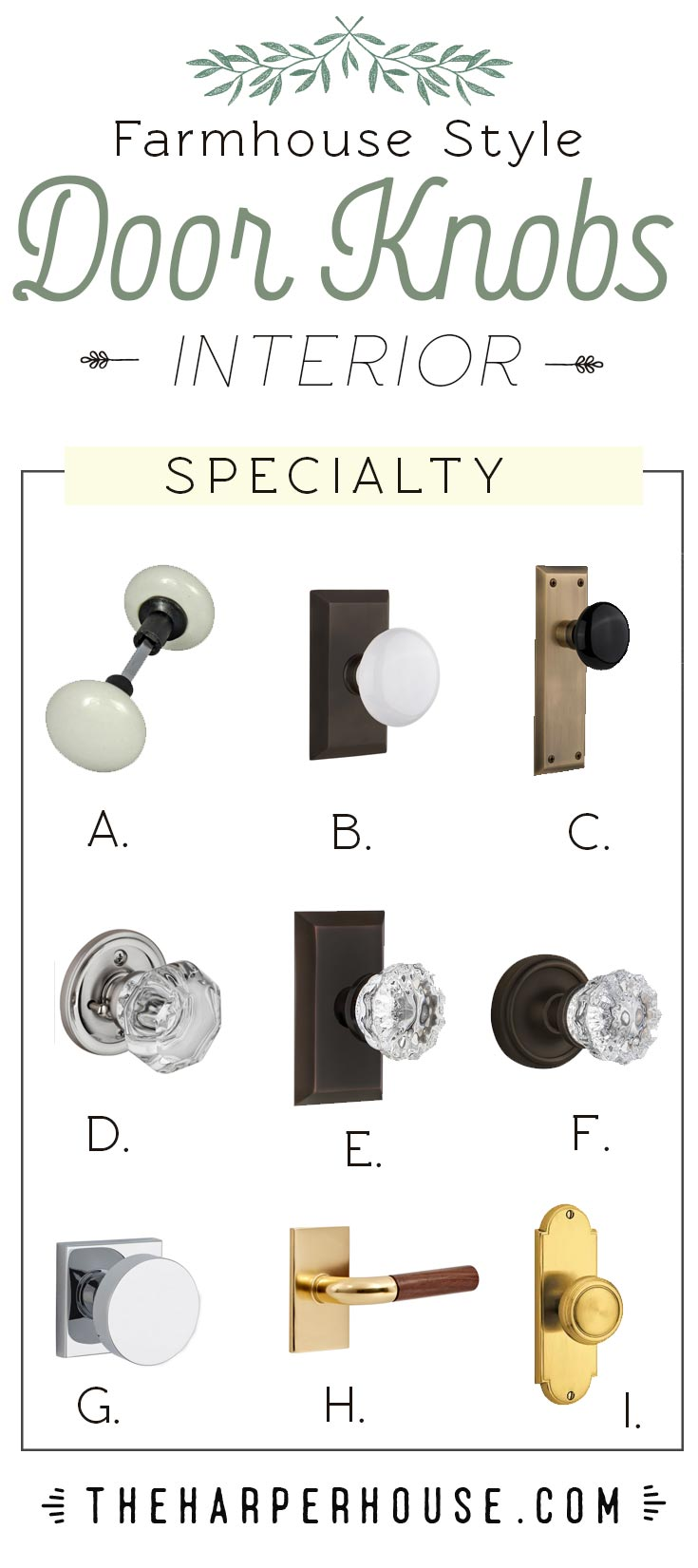 Roundup of glass, crystal, porcelain, and brass door knobs to help you get the modern farmhouse look in your home