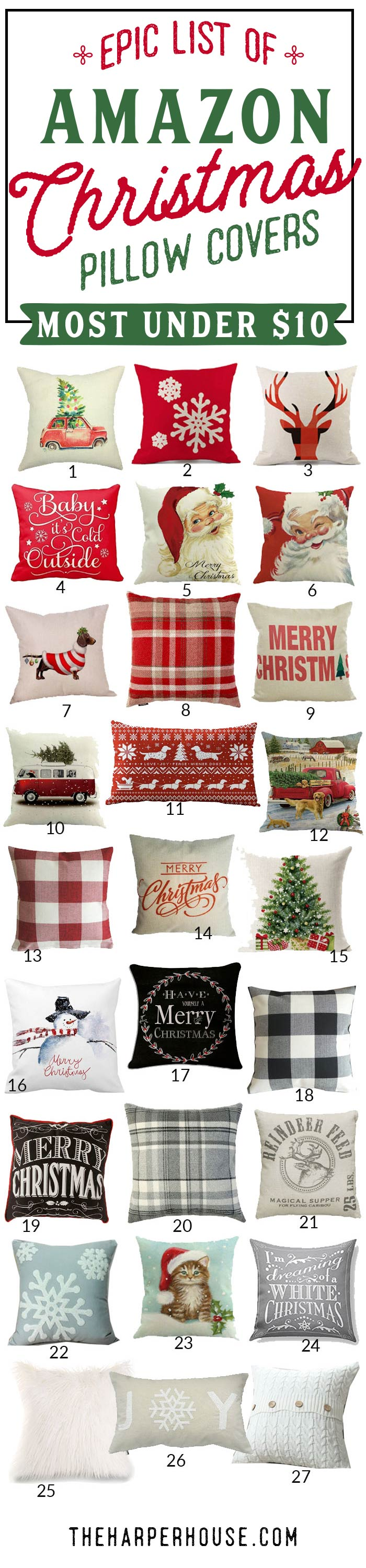 Epic roundup of Christmas pillow covers on Amazon. Most under $10!