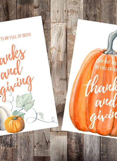 Thanksgiving printables - print these cute free Thanksgiving printables feautring watercolor pumpkins to add a festive touch to your home this holiday.