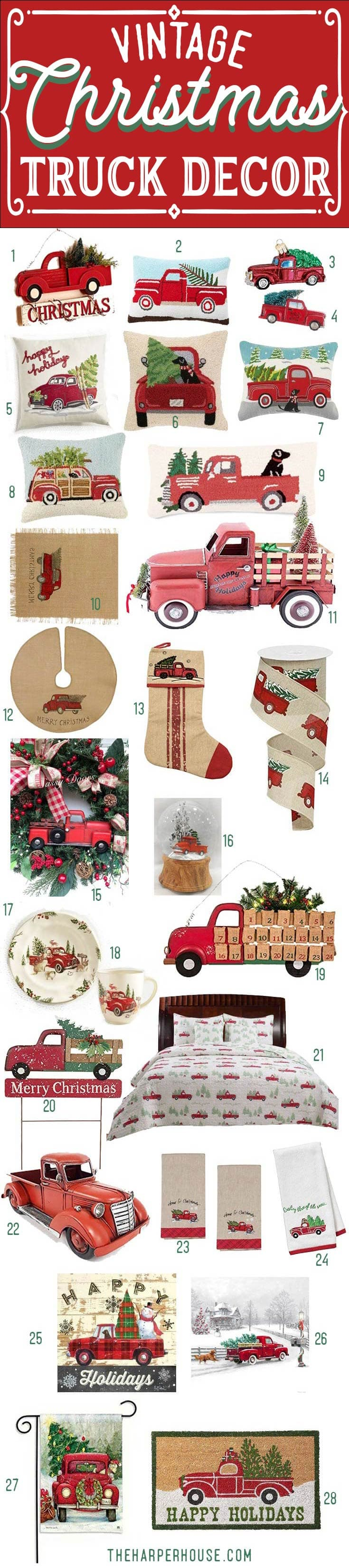 vintage red truck with christmas tree decor perfect for your farmhouse christmas decorations farmhouse - Red Truck Christmas Decor