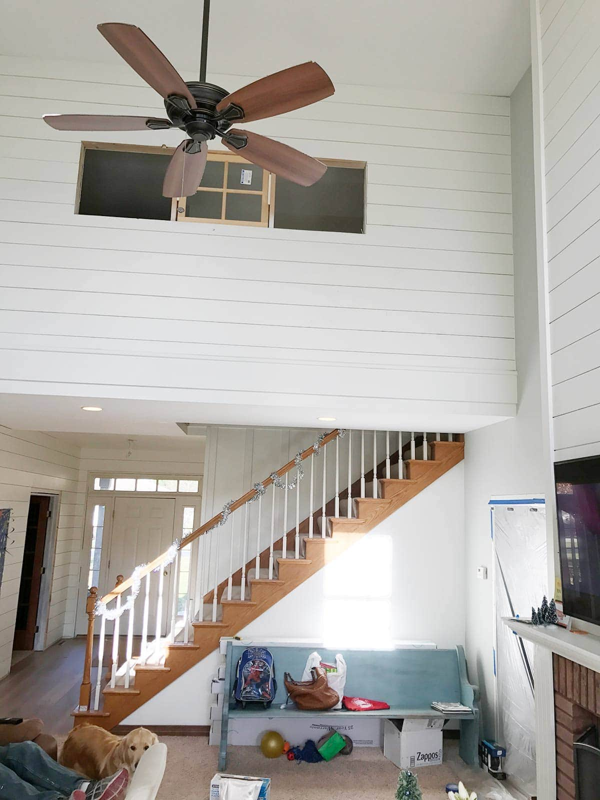 white shiplap in living room #shiplap #modernfarmhouse | www.theharperhouse.com