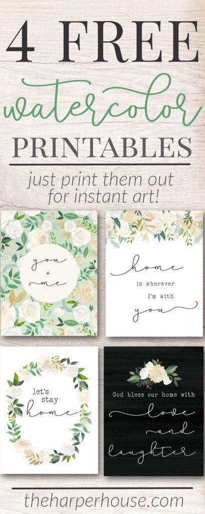 Free Printable Art Prints | watercolor flower prints | instant art | free digital prints | #freeprintables #homedecor #gallerywall #art