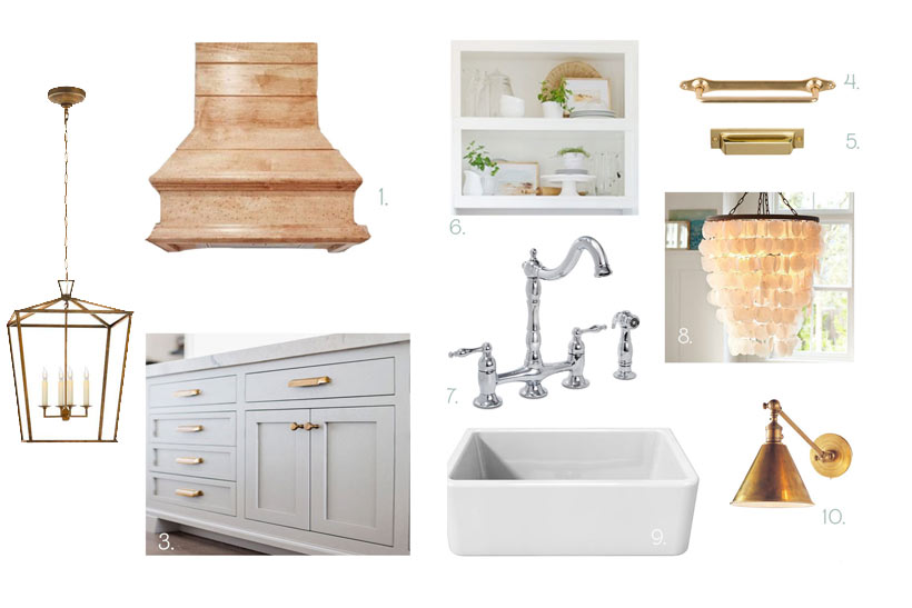 Coastal Farmhouse Kitchen design featuring white shaker cabinets, farmhouse sink, white shiplap, custom stove hood, and unlaquered brass hardware #kitchendesign #farmhousestyle #coastalkitchen #kitchen