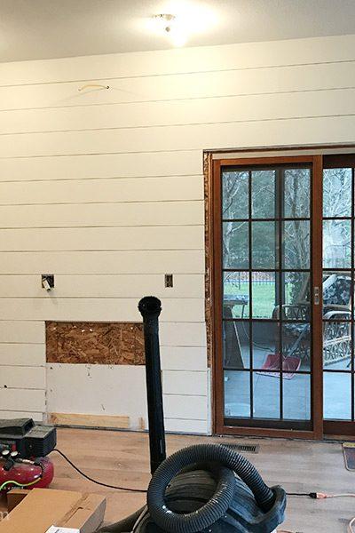 diy shiplap wall, farmhouse kitchen backsplash