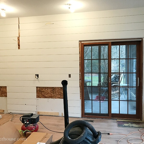 diy shiplap wall, farmhouse kitchen backsplash