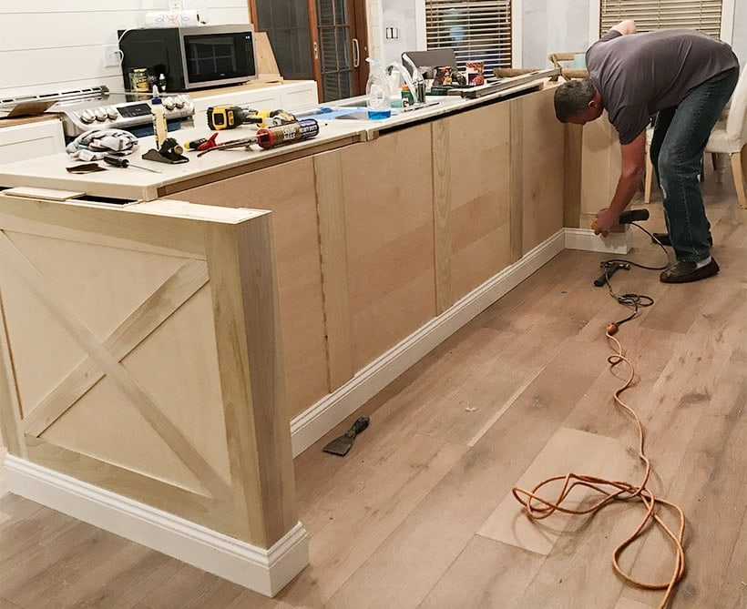 Adding Diy Kitchen Island Trim To Basic Builder Grade Cabinets | Kitchen  Island Ideas | Modern