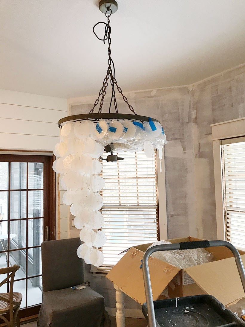 pottery barn capiz chandelier