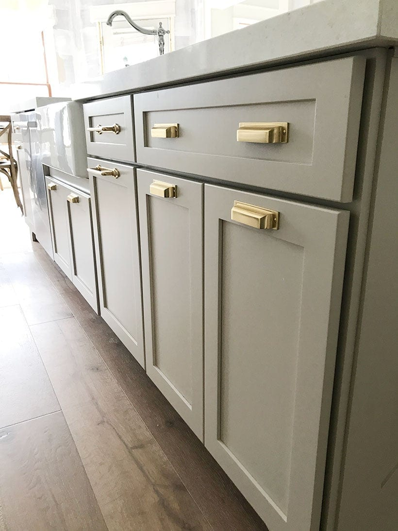 gray kitchen cabinets with brass hardware, brass kitchen hardware, gold hardware kitchen, #fixerupper #kitchendesign, #kitchen