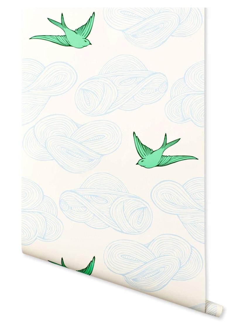 hygge west daydream wallpaper for powder bathroom remodel
