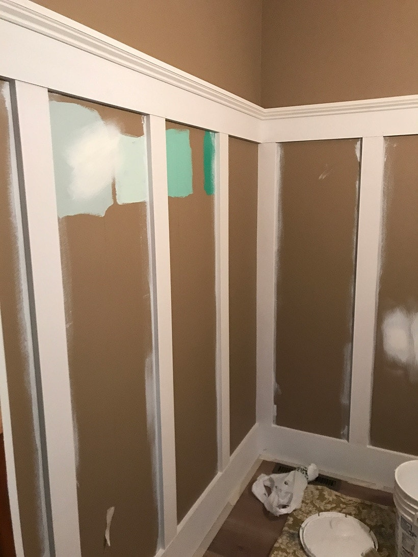 board and batten walls in powder bathroom remodel | #diy board and batten wainscoting #bathdesign