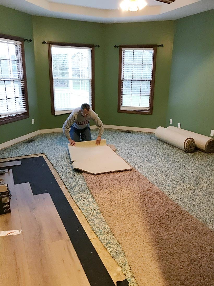 ripping out old carpet in the master bedroom, #masterbedroom #bedroomdesign #remodel #renovation