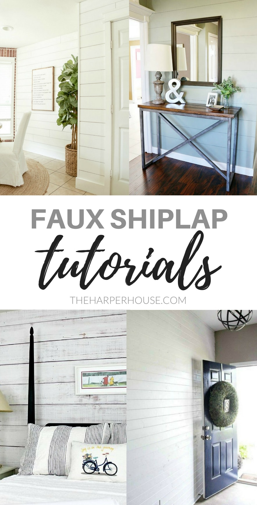 "If you want the look of shiplap, while sticking to a budget or avoiding heavy lifting or power tools, I've got some great ""faux shiplap"" DIY alternatives for you. Check out these 8 faux shiplap tutorials."